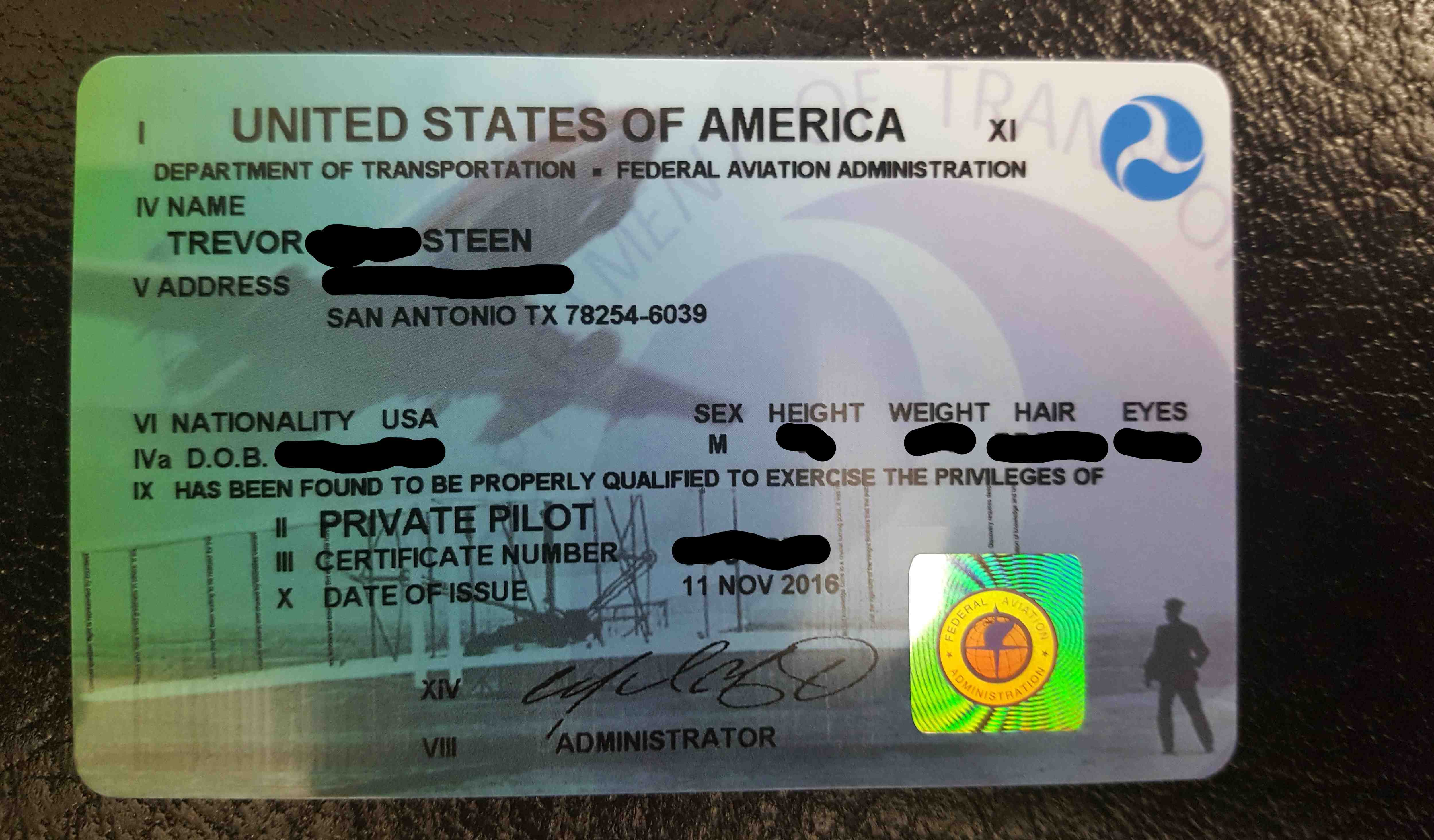 Private Pilot Certificate